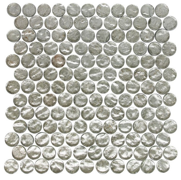 1 Inch Round Crushed Crystal Metallic Glass Tile Offset