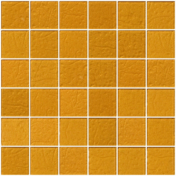 2x2 Inch Bright Gold Metallic Glass Tile