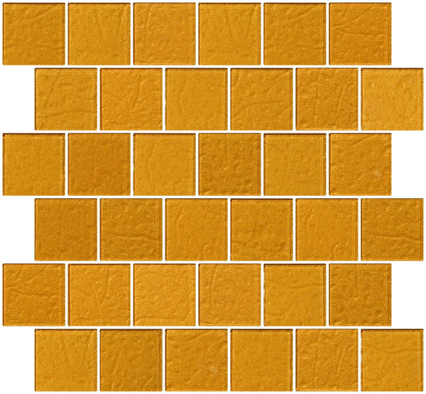 2x2 Inch Bright Gold Metallic Glass Tile Reset In Offset Layout