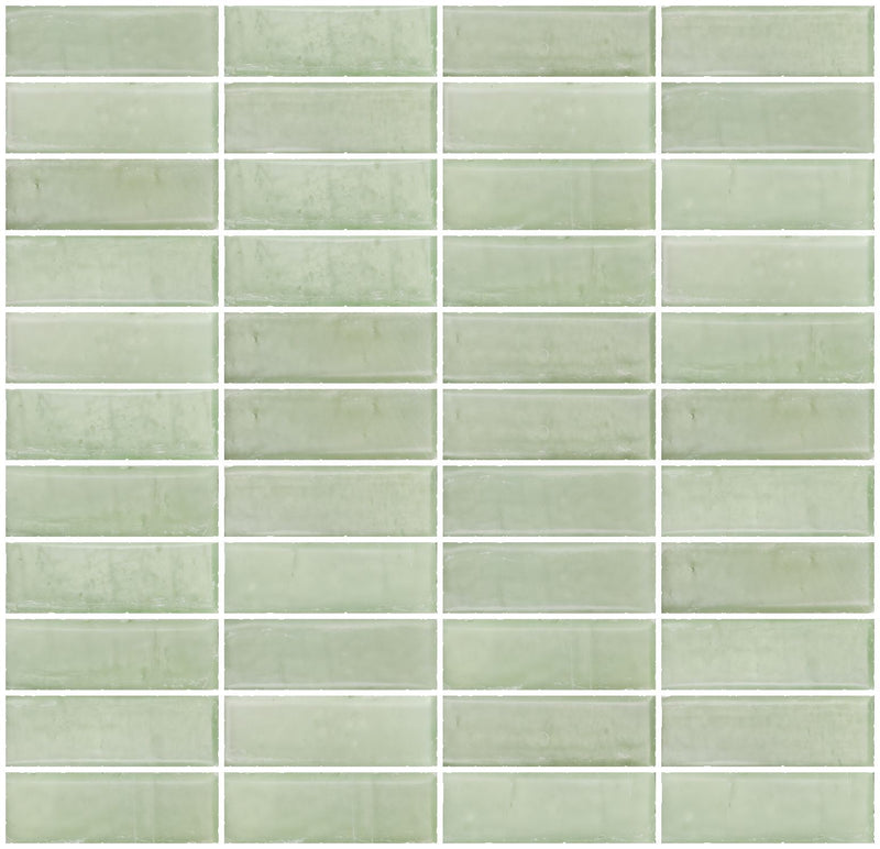 1x3 Inch Matte Green Glass Subway Tile Stacked