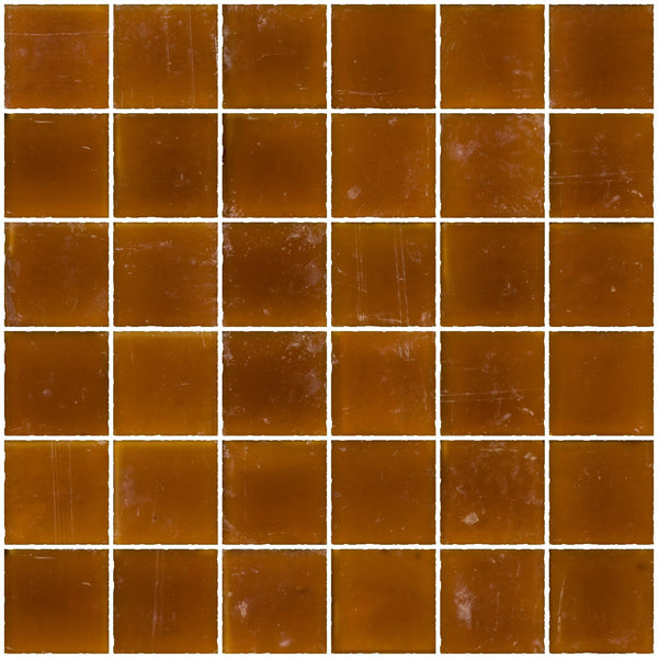 2x2 Inch Matte Amber Brown Glass Tile