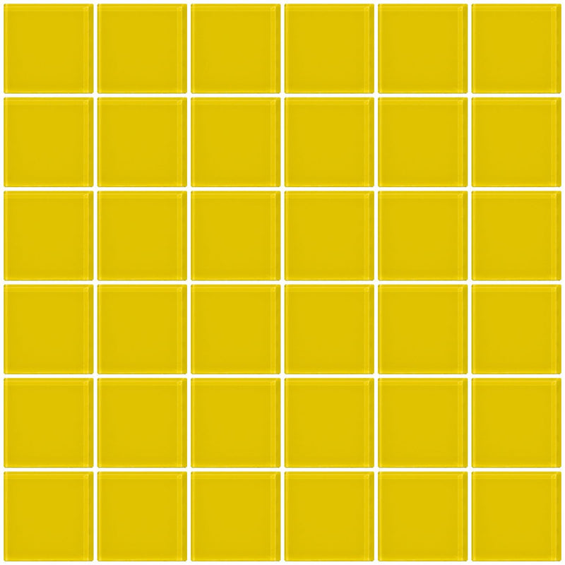 2x2 Inch Bright Yellow Glass Tile