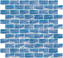 1x2 Inch Atmospheric Blue Textured Recycled Glass Subway Tile RB