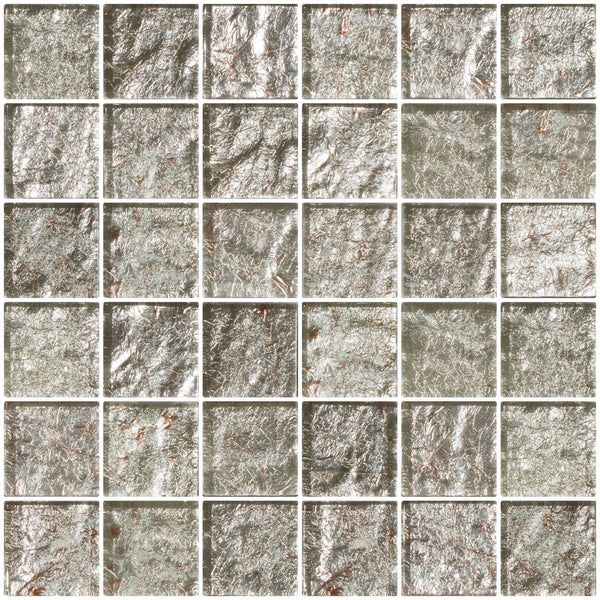 2x2 Inch Crushed Crystal Metallic Glass Tile