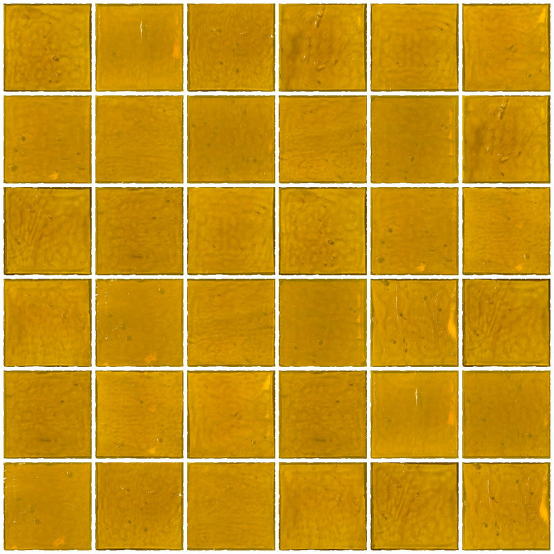 2x2 Inch Transparent Deep Sunshine Yellow Glass Tile