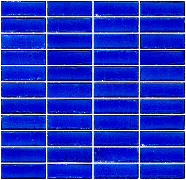 1x3 Inch Cobalt Blue Transparent Glass Subway Tile Stacked