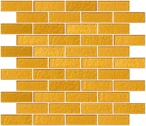 1x3 Inch Bright Gold Metallic Glass Subway Tile