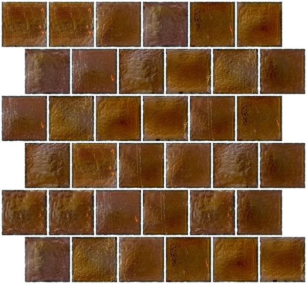 2x2 Inch Deep Brown Iridescent Glass Tile Reset In Offset Layout