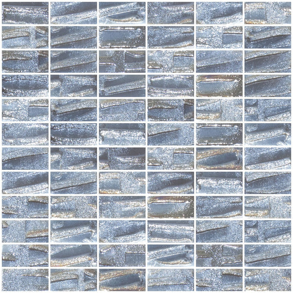 1x2 Inch Dove Gray Textured Recycled Glass Subway Tile