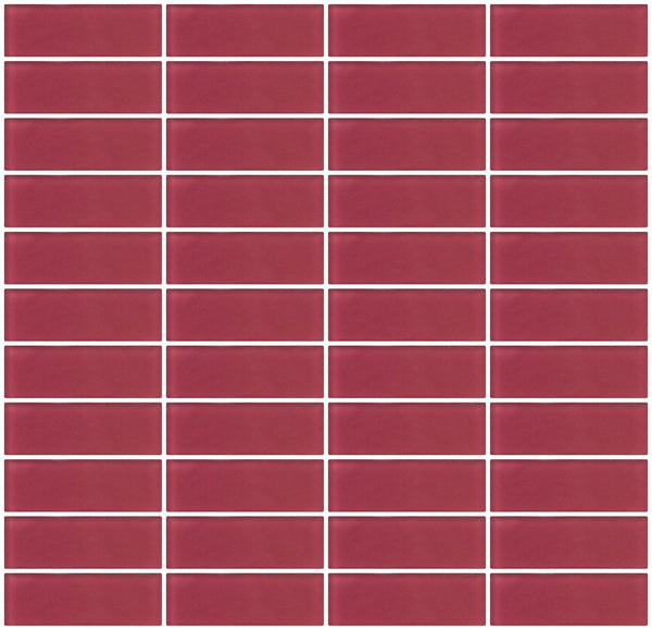 1x3 Inch Burgundy Red Frosted Glass Subway Tile Stacked
