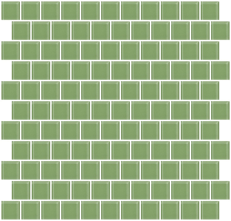 1 Inch Light Sage Green Glass Tile Reset In Offset Layout