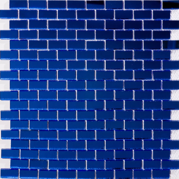 Full Sheet of 5/8 Inch Subway Cobalt Blue Mirror Glass Tile