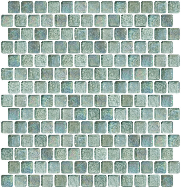 3/4 Inch Aqua Iridescent Glass Tile Offset