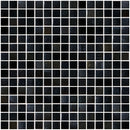 3/4 Inch Black with Silver Shimmer Iridescent Glass Tile