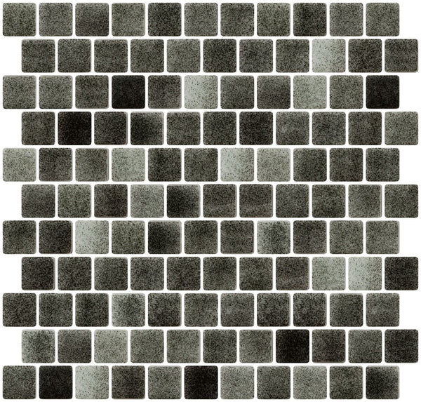 1 Inch Charcoal Gray Dapple on White Recycled Glass Tile Offset