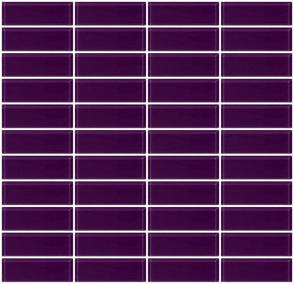 1x3 Inch Lavender Purple Glass Subway Tile Reset In Stacked Layout