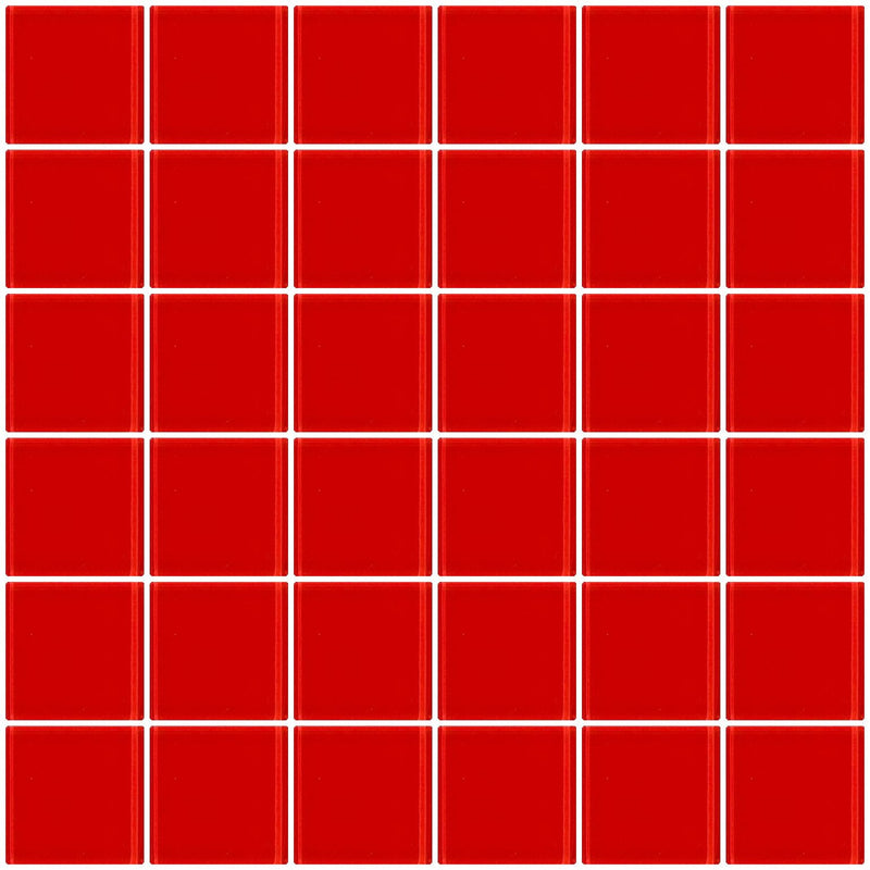 2x2 Inch Deep Tomato Red Glass Tile