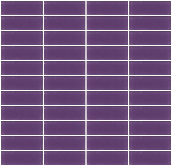 1x3 Inch Lavender Purple Frosted Glass Subway Tile Stacked