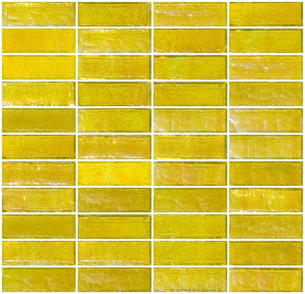 1x3 Inch Sunshine Yellow Iridescent Glass Subway Tile Stacked