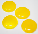 1 Inch Round Cloudy Sunflower Yellow Semi-Transparent Fused Glass Accent Tile