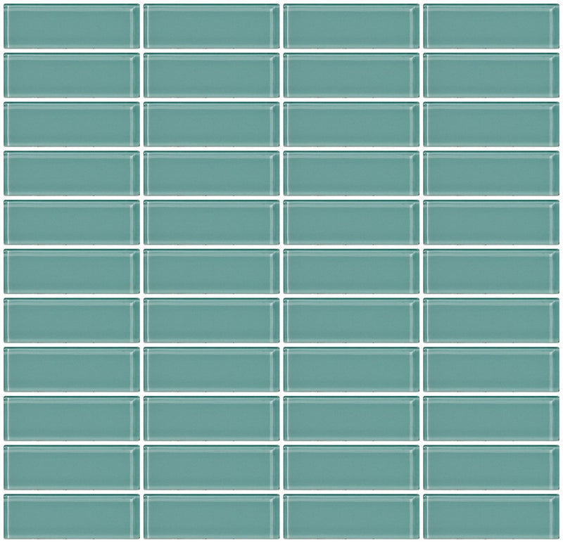 1x3 Inch Light Aqua Blue Glass Subway Tile Stacked
