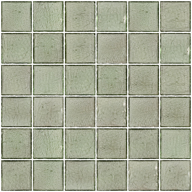 2x2 Inch Transparent Green Glass Tile