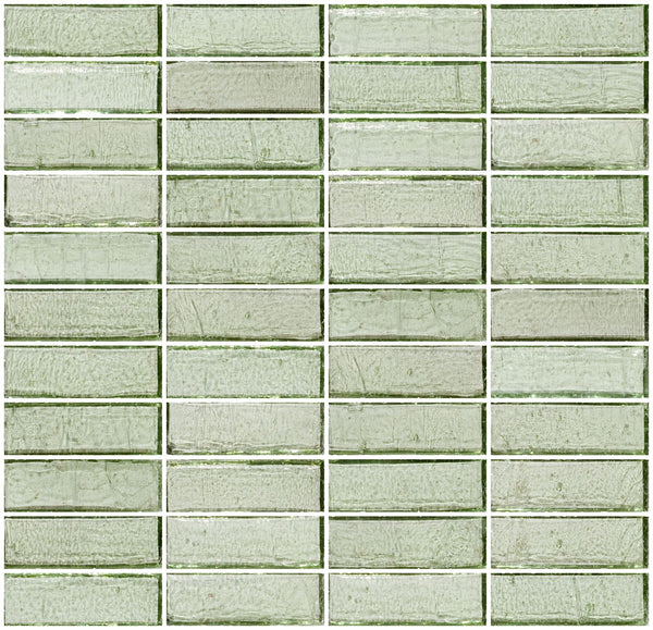 1x3 Inch Green Transparent Glass Subway Tile Stacked