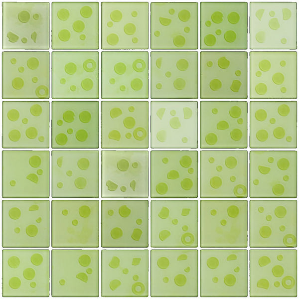 2x2 Inch Cosmos Glass Tile In Lime Green