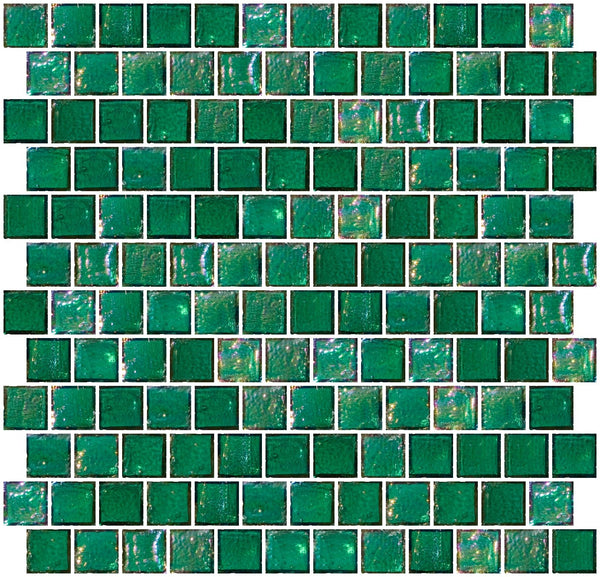 1 Inch Teal Blue Iridescent Glass Tile Reset In Offset Layout