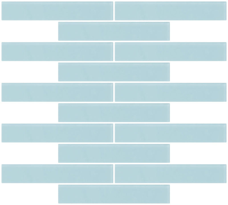 1x6 Inch Light Aqua Blue Frosted Glass Subway Tile Reset In Running-brick Layout