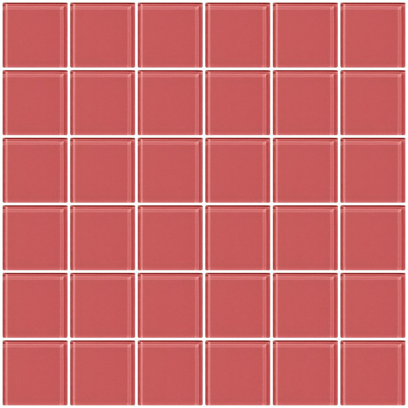 2x2 Inch Coral Pink Glass Tile
