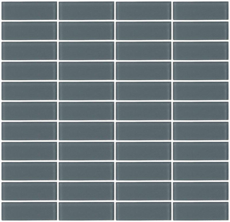 1x3 Inch Medium Gray Frosted Glass Subway Tile Stacked