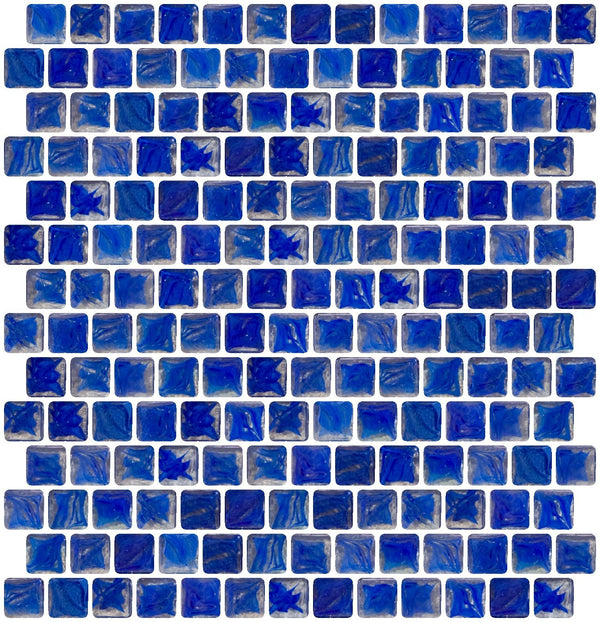 3/4 Inch Cobalt Blue Marbled Glass Tile Offset