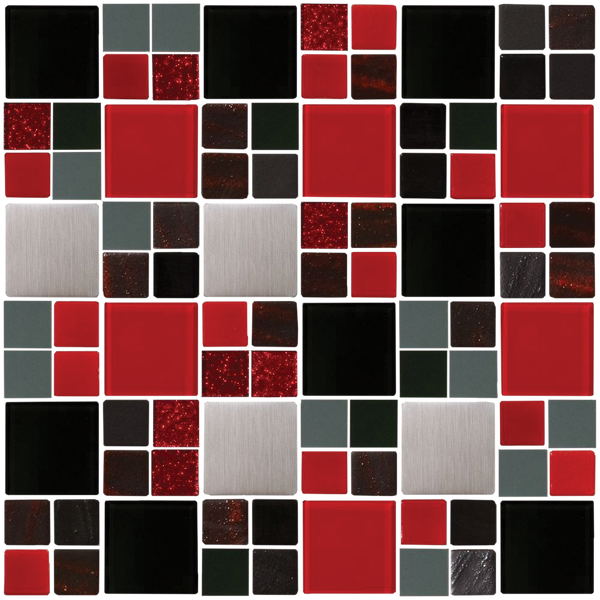 Black Silver and Red Glass Tile MIx