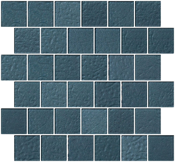 2x2 Inch Denim Blue Metallic Glass Tile Reset In Offset Layout