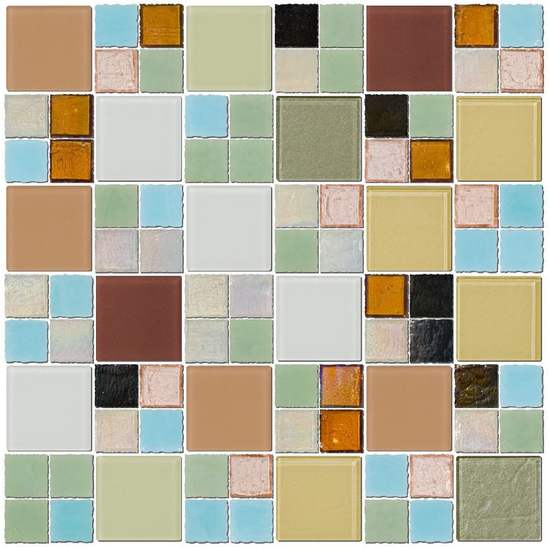 Whites Greens Blues and Neutral Glass Tile Mix