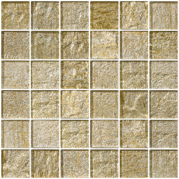 2x2 Inch Gold and Silver Metallic Glass Tile