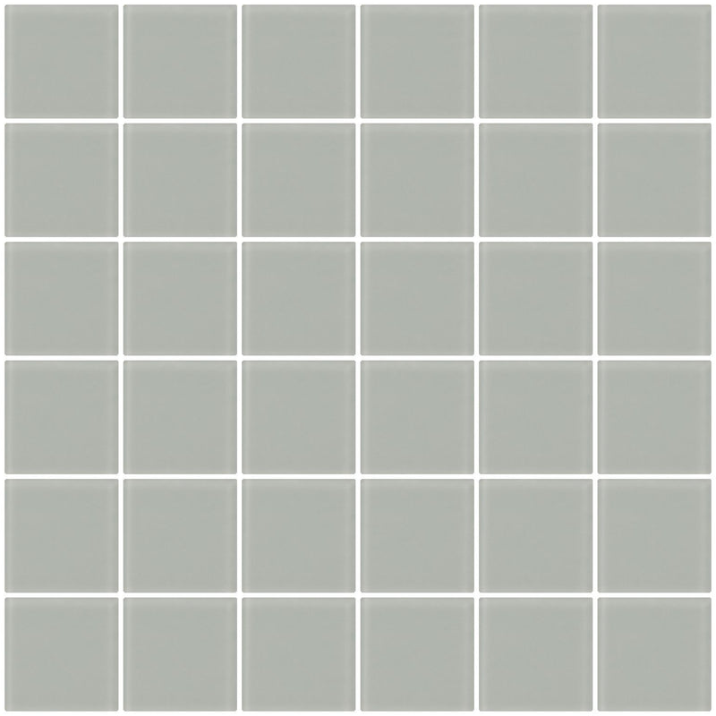 2x2 Inch Light Gray Frosted Glass Tile