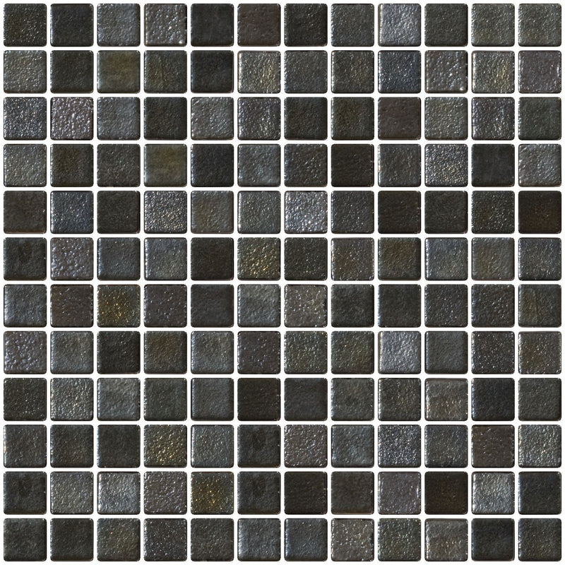 1 Inch Gunmetal Gray Iridescent Recycled Glass Tile