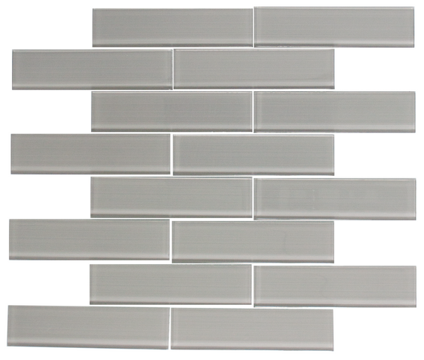 1.5-Inch x 6-Inch Grey Lined Glass Tile