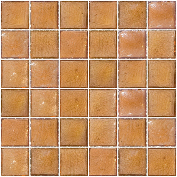 2x2 Inch Peach Pink Iridescent Glass Tile