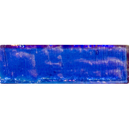 Sample of 1x3 Inch Cobalt Blue Iridescent Glass Subway Tile Stacked