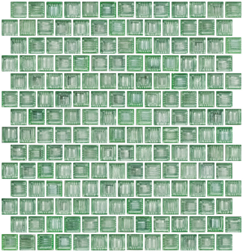 3/4 Inch Transparent Spring Green Glass Tile Reset In Offset Layout
