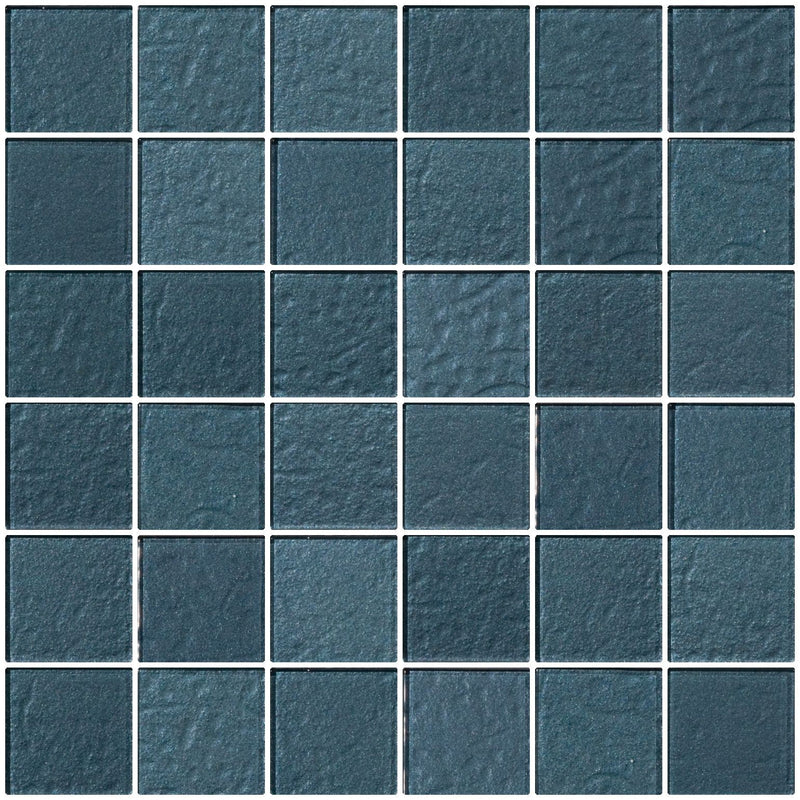 2x2 Inch Denim Blue Metallic Glass Tile