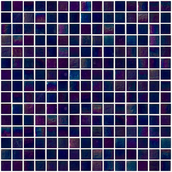 3/4 Inch Dark Cobalt Blue Shimmer Iridescent Glass Tile