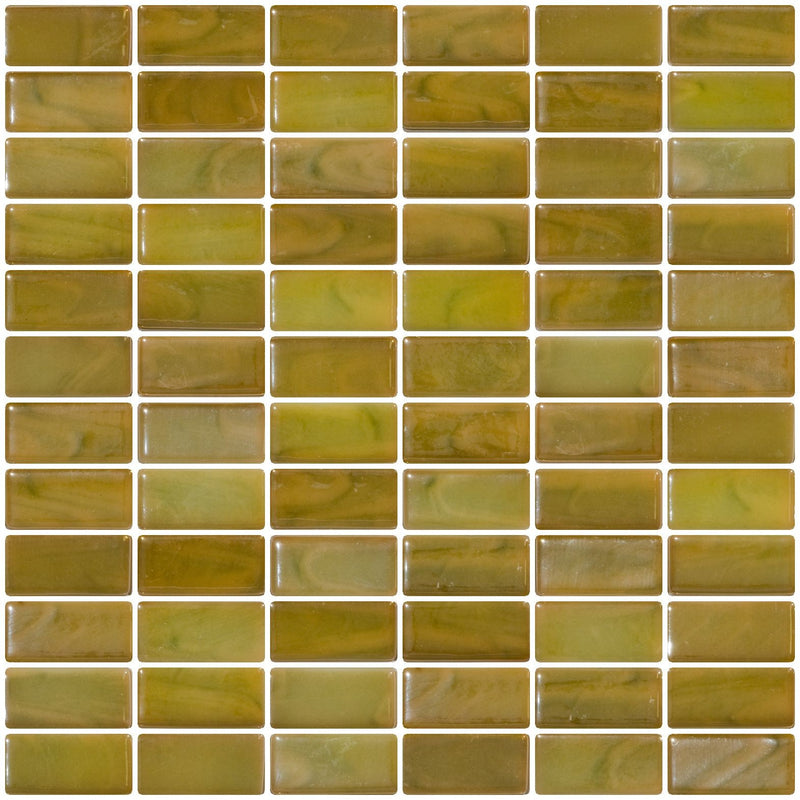 1x2 Inch Green Onyx Iridescent Recycled Subway Glass Tile