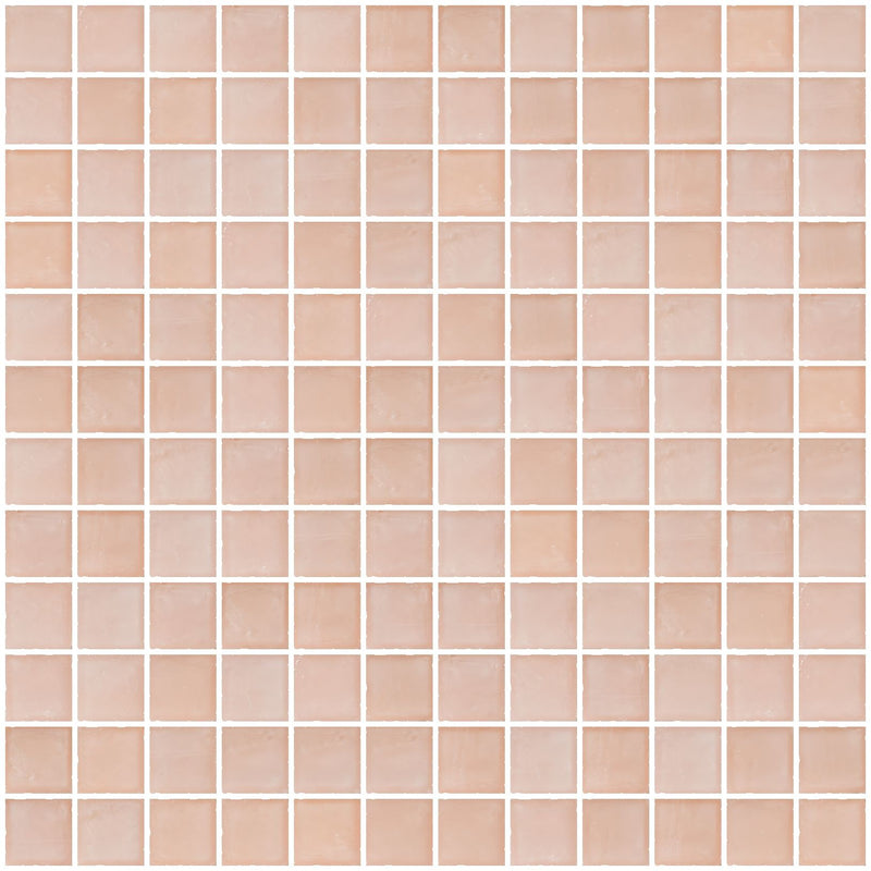 1 Inch Matte Peach Pink Glass Tile