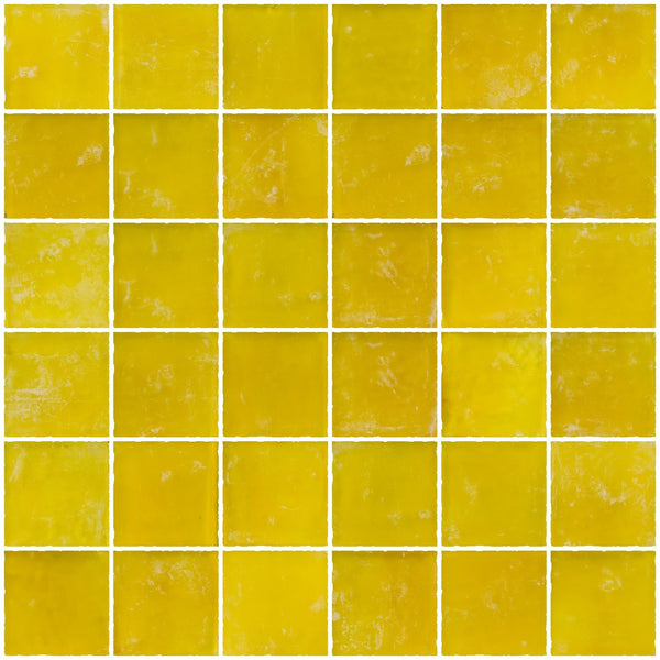 2x2 Inch Matte Sunshine Yellow Glass Tile