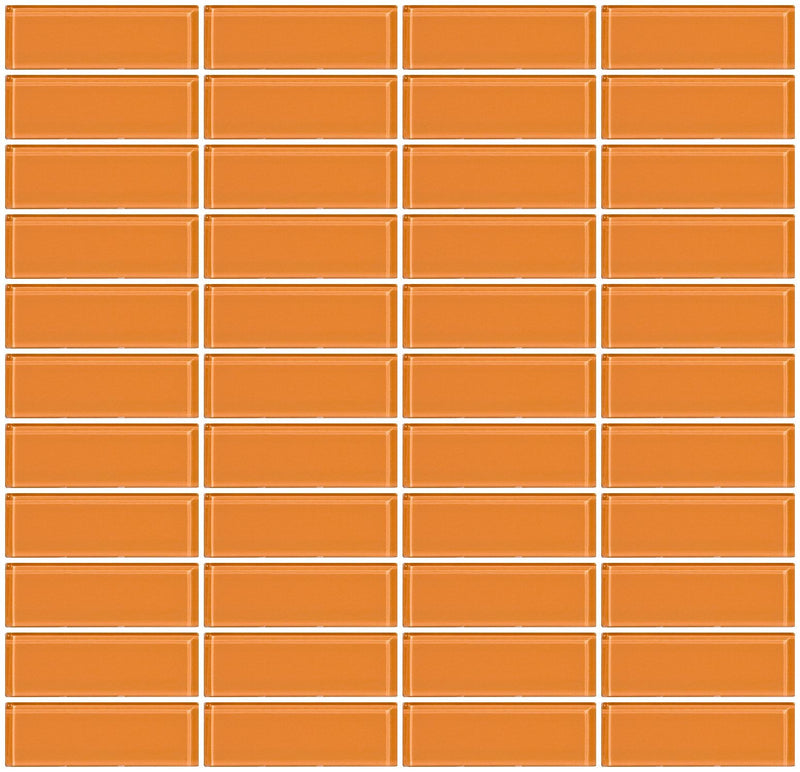 1x3 Inch Apricot Orange Glass Subway Tile Reset In Stacked Layout