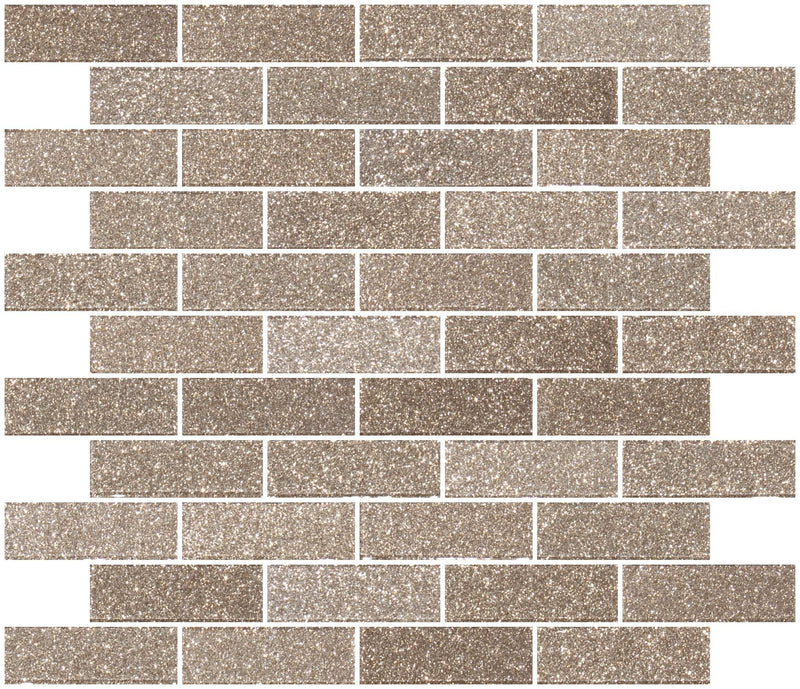 1x3 Inch Taupe Gold Glitter Glass Subway Tile